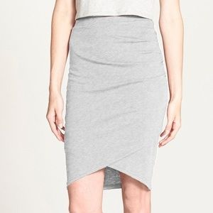 Gray Ruched Pencil Skirt